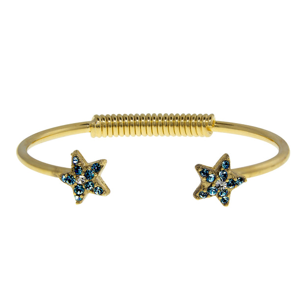 Gold Tone Crystal Star Spring Bracelet Dark Blue
