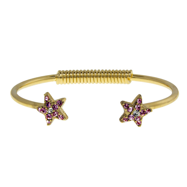 Gold Tone Crystal Star Spring Bracelet Purple