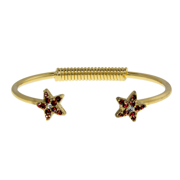 Gold Tone Crystal Star Spring Bracelet Dark Red