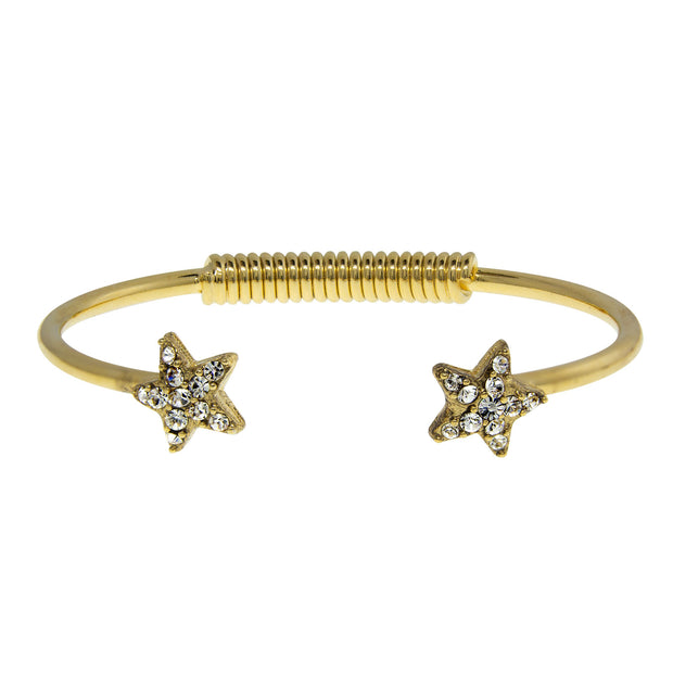 Gold Tone Crystal Star Spring Bracelet Crystal Clear