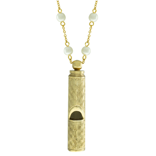 14k Gold Dipped Whistle with Pearl Chain 30 Inches