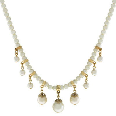14K Gold Dipped Pearl Chain With Graduated Drop Pearls Necklace 15 - 18 Inch Adjustable