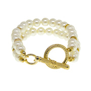 14K Gold Dipped Double Strand Pearl Toggle Bracelet