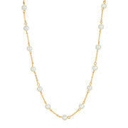 14K Gold Dipped Chain with Pearls Necklace 16 - 19 Inches Adjustable