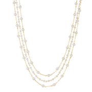14K Gold Dipped Three Strand Pearl Chain Necklace 16 - 19 Inch Adjustable