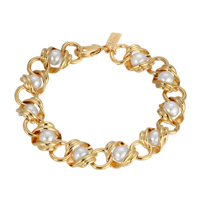14k Gold Dipped Chain with Pearl Inset Link Bracelet