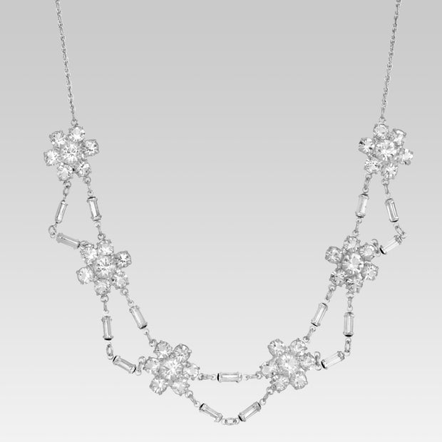 Round And Baguette Swarovski Crystal Flower Stations Necklace 15.5 Inches