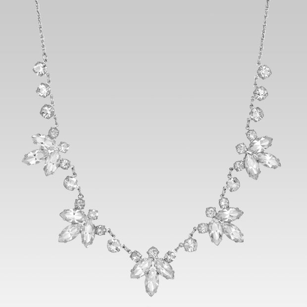 Swaovski Crystal Flower Stations Necklace 15.5 Inches