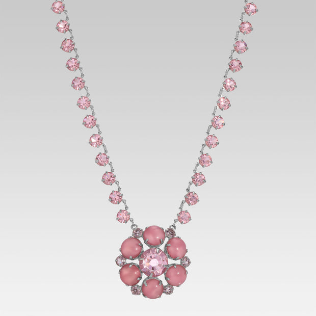 Silver Tone Round Pink Swarovski Crystal Element Round Pendant Necklace 22 Inch Adjustable