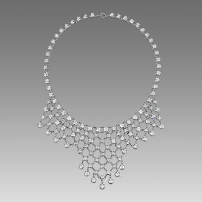 Silver Tone Swarovski Crystal Bib Necklace 15 In.