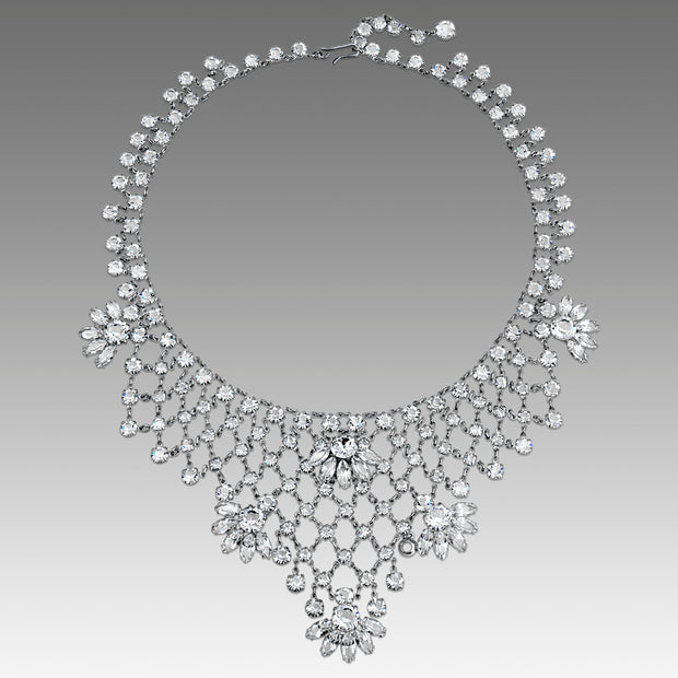 Silver Tone Swarovski Crystal Grand Bib Necklace 16 Inch