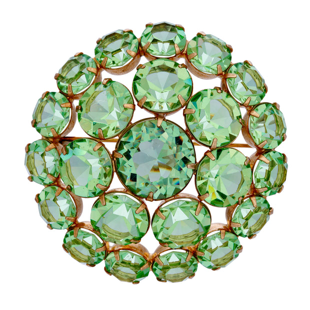 Green Rare Vintage Swarovski Crystal Large Round Brooch Pin