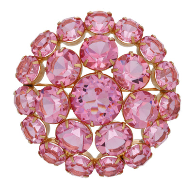 1928 Jewelry Rare Vintage Swarovski Crystal Element Large Round Brooch Pin