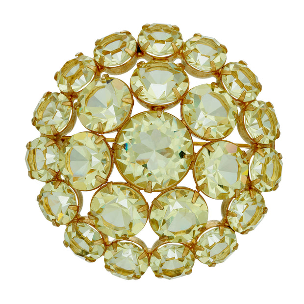 Yellow Rare Vintage Swarovski Crystal Large Round Brooch Pin