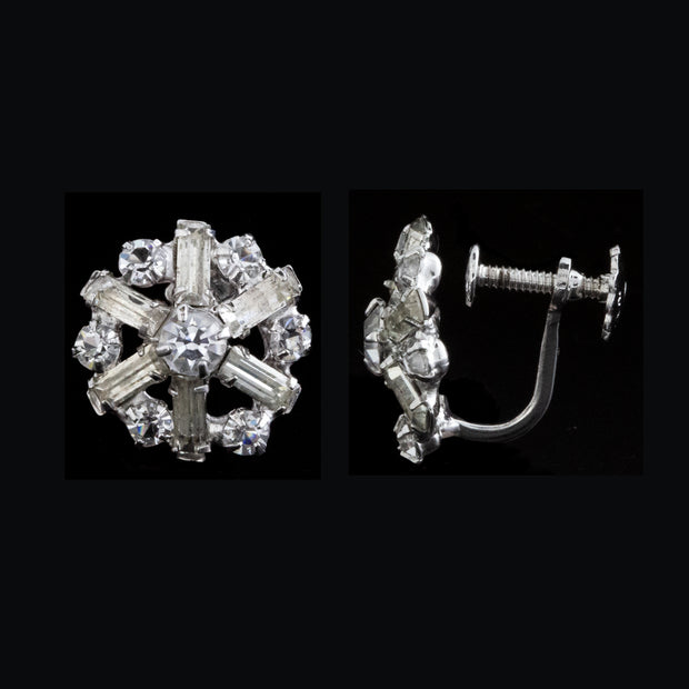 Silver Tone Swarovski Crystal Elements Round Floral Screw Clip Earrings