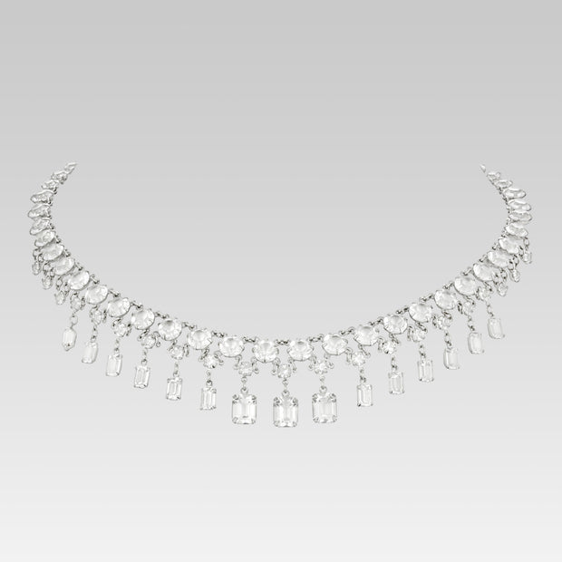 Swarovski Crystal Round And Octagon Necklace 13 Inches Adjustable
