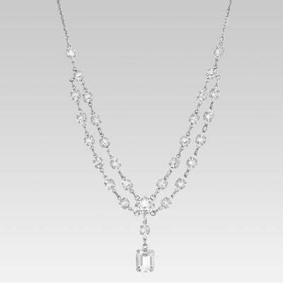 Swarovski Crystal Emerald Swag Drop Necklace 16 Inches