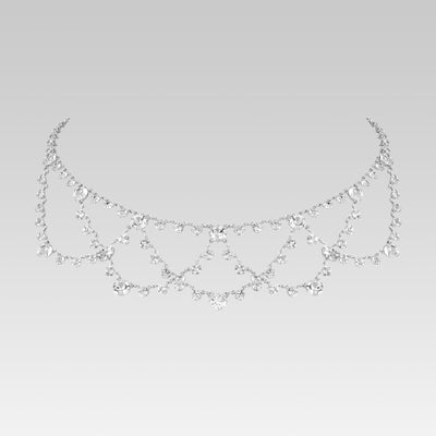 Swarovski Crystal Round Draped Bib Drop Necklace 16 Inch