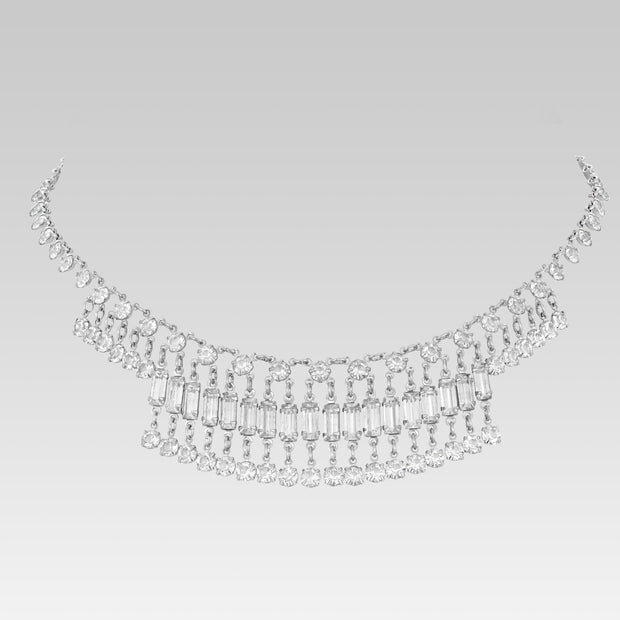 Swarovski Crystal Baguette Round Drop Link Necklace 14 Inches