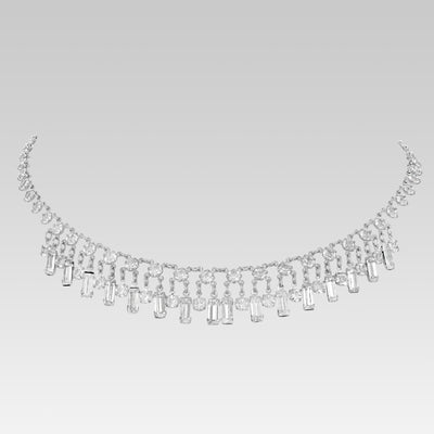 Swarovski Crystal Baguette Drop Link Necklace 15 Inches