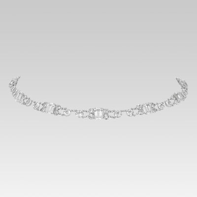 Swarovski Crystal Emeral Cut Link Necklace 15 Inches