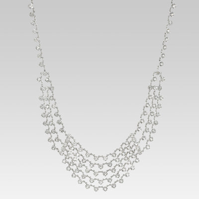 Swarovski Crystal Round Multi Chain Bib Necklace 15 Inch