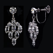 Silver Tone Swarovski Crystal Elements Drop Screw Back Clip Earring