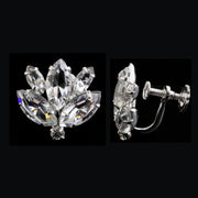 Silver Tone Swarovski Elements Marquis  Crystal Screw Back Clip Earrings