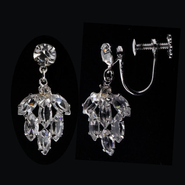 Silver Tone Swarovski Crystal Elements Tree Screw Back Clip Earrings
