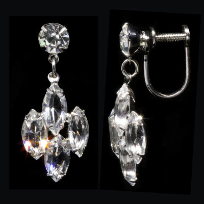 Silver Tone Swarovski Crystal Elements Drop Screw Back Clip Earrings
