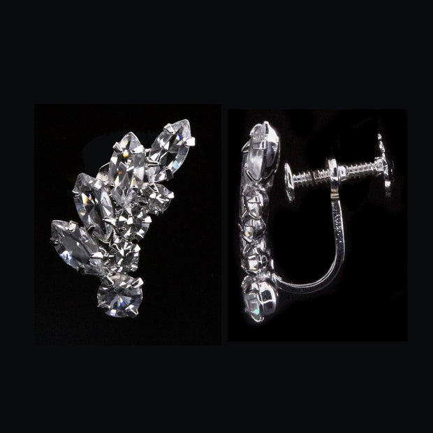 Silver Tone Swarovski Crystal Elements Screw Back Clip Earrings