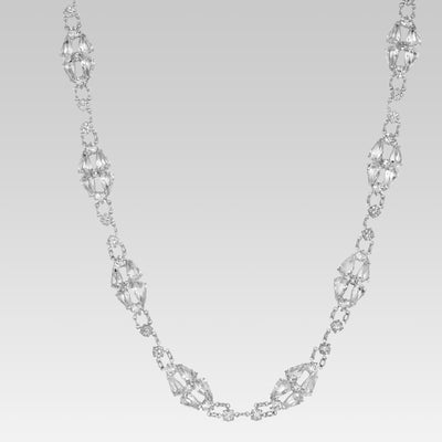 Round & Pear Shaped Swaovski Crystal  Necklace 15 Inches