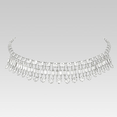 Swarovski Baguette Crystal Drop Choker Necklace 13 Inches Adjustable