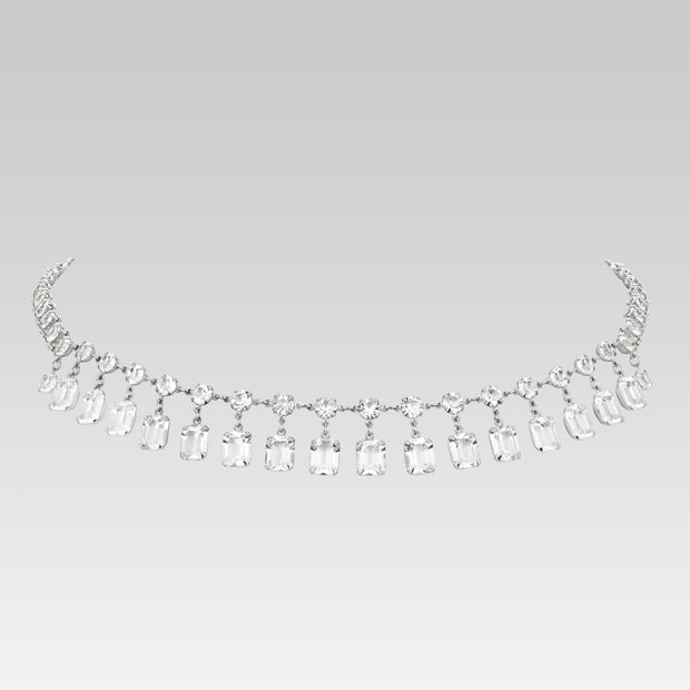 Swarovski Emerald Cut Drop Crystal Necklace 15 Inch