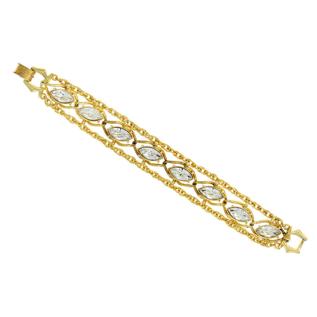 "1928 14K Gold Dipped Navette Swarovski Crystal Elements Chain Bracelet 8""L"