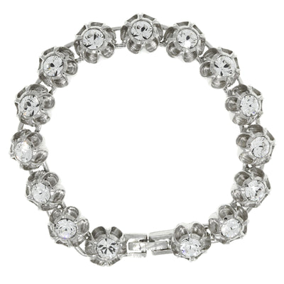 Silver Tone Round Brilliant Crystal Flower Clasp Bracelet. 7.25 Inch