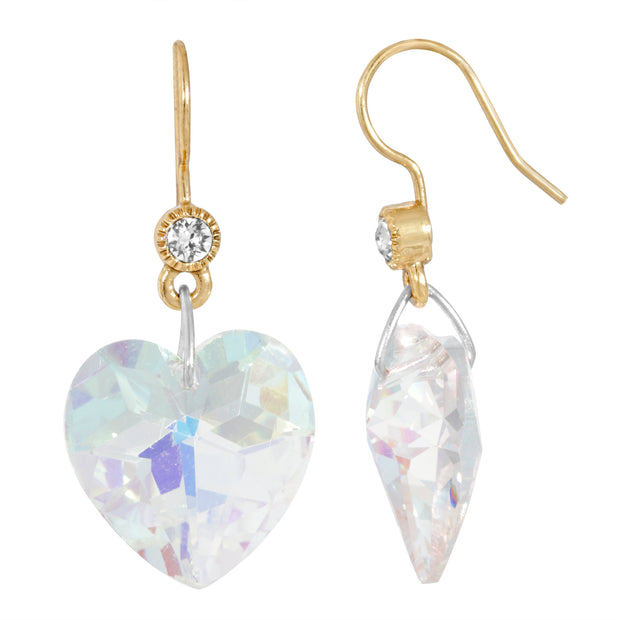14K Gold Dipped Austrian Crystal Glass Heart Wire Earrings