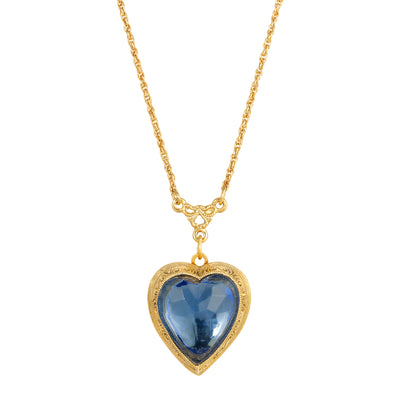 14K Gold Dipped Blue Glass Heart Locket Necklace 16 - 22 Adjustable