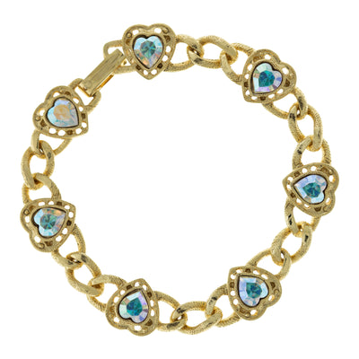 14K Gold Dipped Swarovski Crystal AB Heart Chain Bracelet