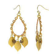 14K Gold Dipped Decorative Swirl with Pearls Drop Earrings
