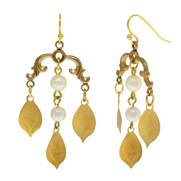1928 Jewelry 14K Gold Dipped Decorative Swirl and Pearls Drop Wire Earrings