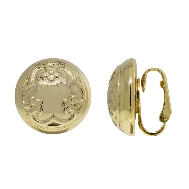 1928 Jewelry Petite Round Classic Clip On Earrings In Gold