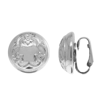 1928 Jewelry Petite Round Classic Clip On Earrings In Silver