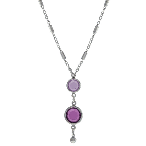 Silver Tone Purple Swarovski Chanel Crystal Drop Necklace 18 Inches