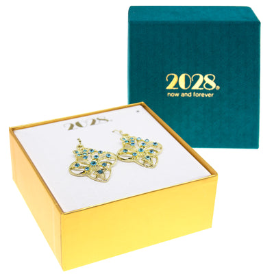 Gold Tone Aqua Filigree Flower Drop Earrings
