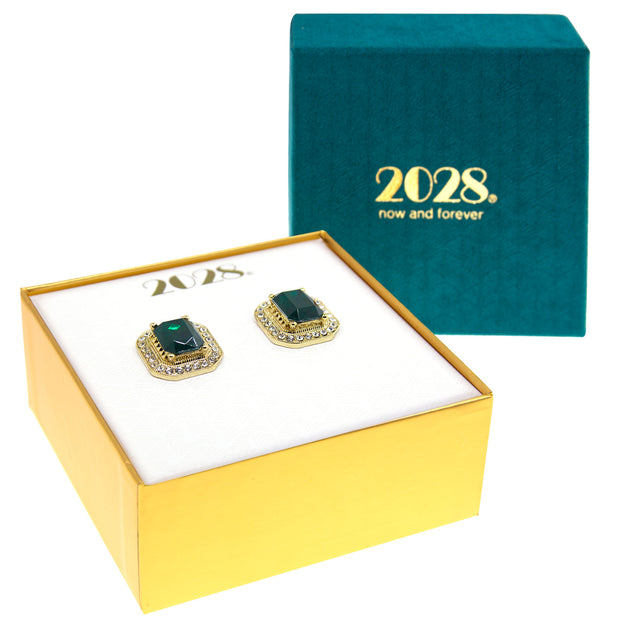 Gold Tone Green Stone And Crystal Octagon Button Earrings