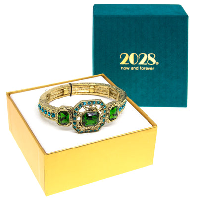 Gold Tone Green and Blue Zircon Color Crystal Stretch Bracelet