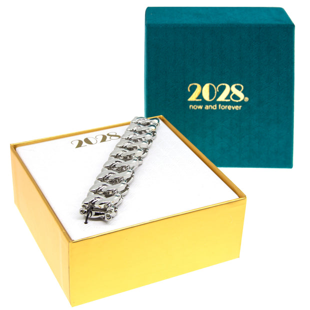 Silver 2028 Jewelry Boxed Modern Stretch Link Bracelet