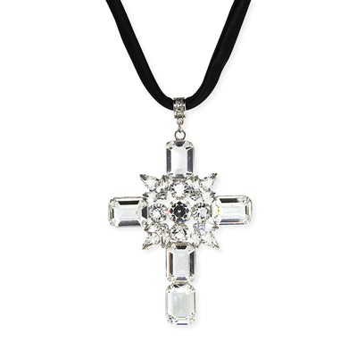 Silver Tone Swarovski Crystal Cross Black Satin Cord Necklace 13 In. Adjustable
