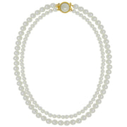 14K Gold Dipped Double Pearl Strand Necklace 16 Inches